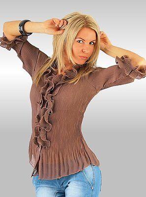 Ärmel Plissee Bluse (Bluse Chiffonbluse 38  Latte  braun Plissee 3/4 Ärmel Rüschen Chiffon  Damen )
