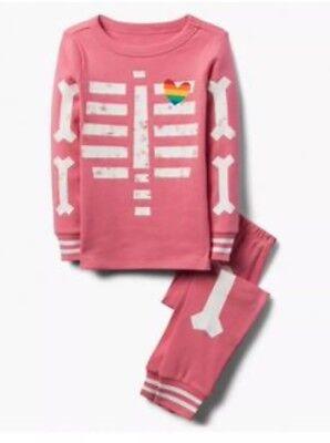 Gymboree Halloween 2018 Girls Pink Skeleton Glow in the Dark Pjs Nwt Size 6