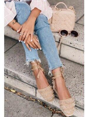 CASTAÑER Phoebe Camel Tan Fringe Espadrille Flat Platform Sandal Shoe 40, $180