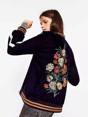 Zara Velvet Bomber Jacket Velvet With Embroidered Flowers on Back Navy Size S