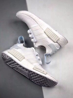 d2135474b11cd Adidas NMD R1 Primeknit PK Triple White Blue Tint CQ2040 Women Running Shoes  10