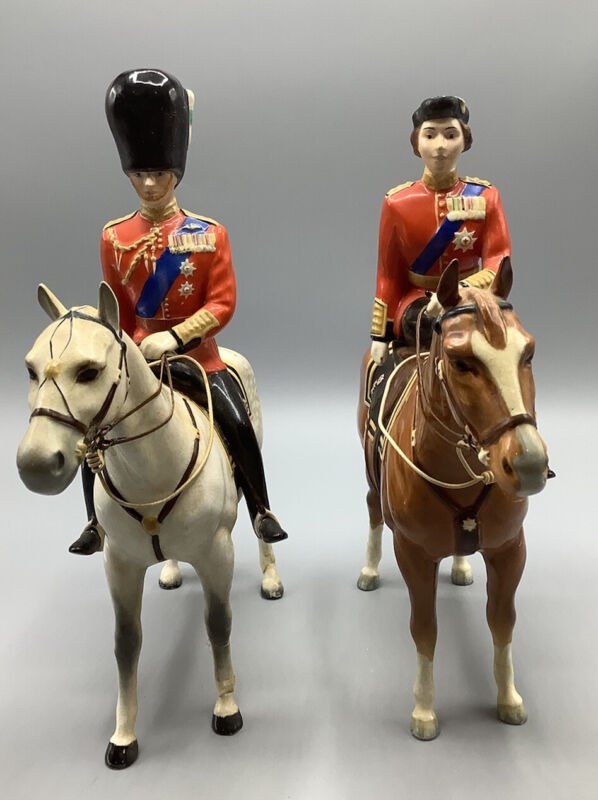 BESWICK H.M QUEEN ELIZABETH II ON IMPERIAL & THE DUKE OF EDINBURG ON ALAMEIN