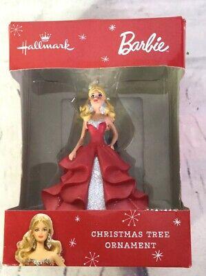 Hallmark Barbie Red Dress Blonde Hair Doll Christmas Tree Ornament Holiday Gift