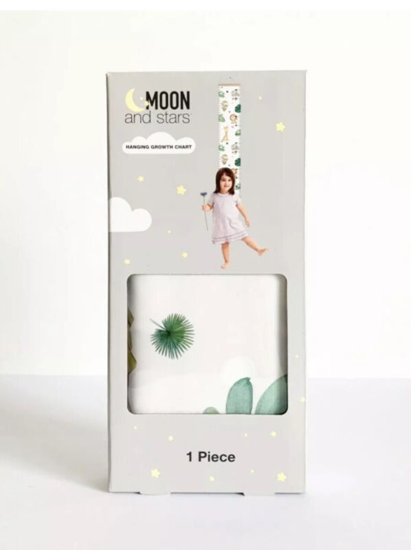 Moon and Stars Kids Hanging Height Growth Chart Safari Animal Themed NEW IN BOX