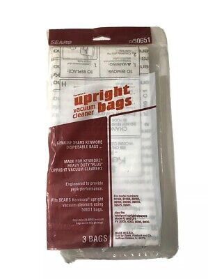 SEARS KENMORE Model 50651 Upright Vacuum Cleaner Bags NEW 3 Pack -Fits Whirlpool