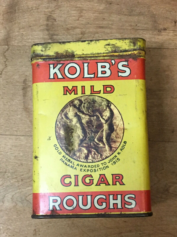 Vintage Kolb's Mild Cigar Roughs Tobacco Can With Paper Inside*WOW