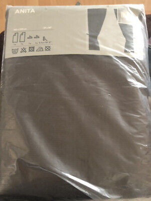 "NEW Ikea ANITA Curtain Panels BROWN Contemporary Ribbed Embossed 57""x 98"" 1 PAIR"