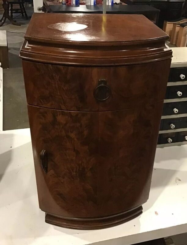 Great Deco Walnut Night Stand Great Grain ,Door , Drawer