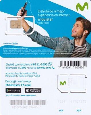 COSTA RICA.MOVISTAR MOBILE SIM CARD MINT UNUSED,CHIP - Phone Cards Costa Rica
