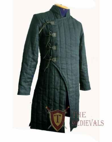 Medieval Thick Padded Gambeson Coat Aketon Full Length Jacket Armor Costumes SCA