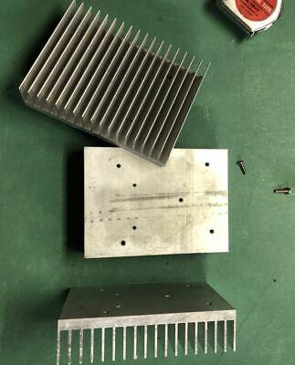 Large Finned Aluminum Heat Sink--4x5x1-38 Heavy1.1 Lbs Flat Bottom