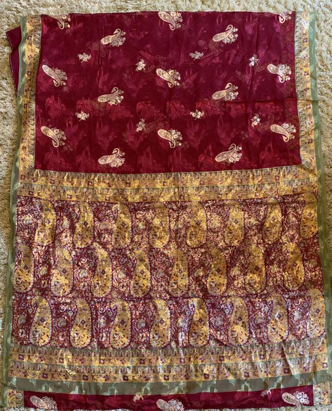 """Saree Sari 224"""" X 44"""" Wrap Silk Blend Red Gold Green"""