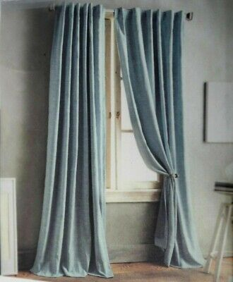 (1) DKNY Front Row 84-Inch Back Tab Window Curtain Panels in Blue