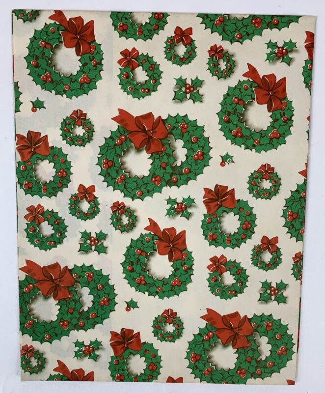 """Vintage Gift Wrap Christmas Wreaths Bows 1 SHEET ONLY  Folded Size 29"""" x 20"""""""