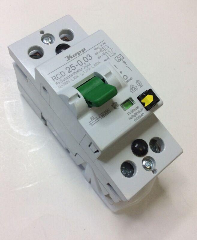 Kopp 1 + N 25 A Instantaneous RCD Switch, Trip Sensitivity 30mA