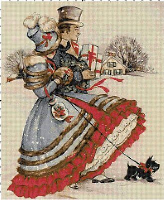 Victorian Christmas Shopping Cross-Stitch DIGITAL Counted Pattern Needlepoint