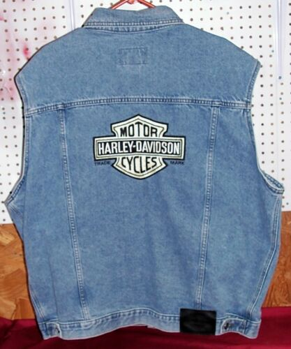 Mens Size XL Genuine Harley Davidson Denim Motorcycle Vest Biker Patch Riding HD