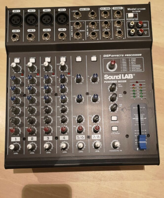 Soundlab G742BB 8 Channel DSP Effects Powered Mixer 2x120w Jack Outputs
