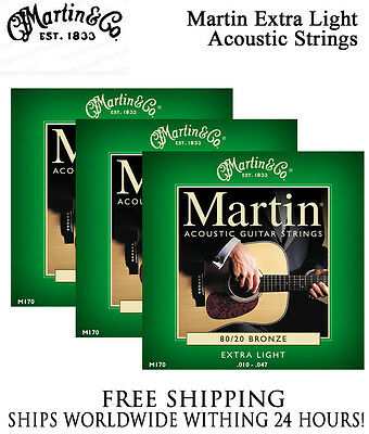 ** 3 SETS - MARTIN M170 ACOUSTIC GUITAR STRINGS EXTRA LIGHT 80/20 BRONZE **