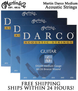 ** 3 SETS - MARTIN DARCO D5200 ACOUSTIC GUITAR STRINGS MEDIUM 80/20 BRONZE**