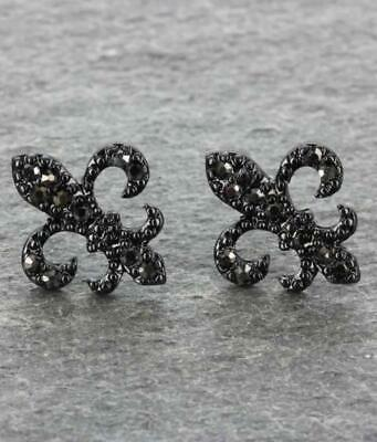 NEW! FLEUR DE LIS  /NEW ORLEANS EARRINGS- BLACK RHINESTONE