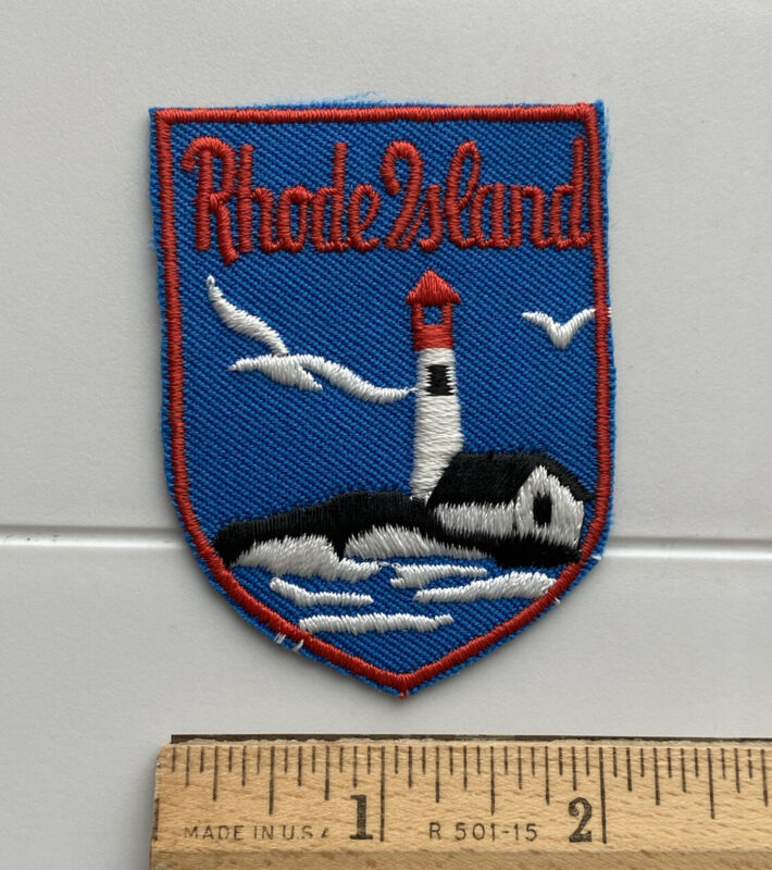 Rhode Island Atlantic Lighthouse Seagulls Souvenir Blue Red Embroidered Patch