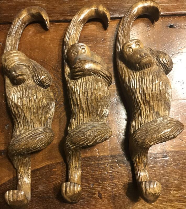 Hear, See, Speak No Evil Carved Hanging Wood MONKEYS - Unique carvings (436-19)