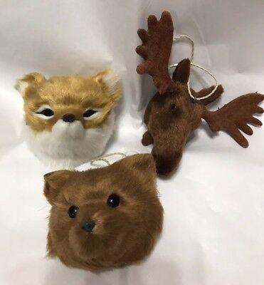 Moose, Bear, Fox Christmas tree ornaments Faux Fur Woodland Theme Set of 3 - Moose Christmas Ornaments