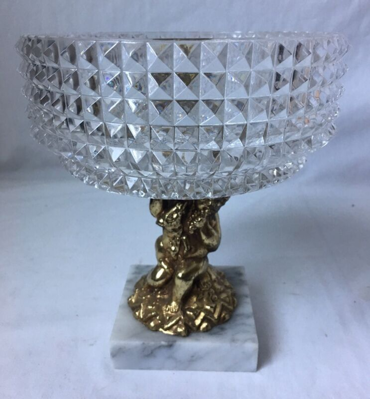 Vintage Diamond Cut Crystal Compote Italy Cherub Putti Footed Marble Metal Base