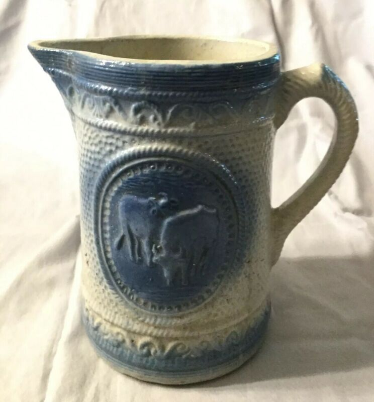 Antique Blue and White Stoneware Pitcher- Cows