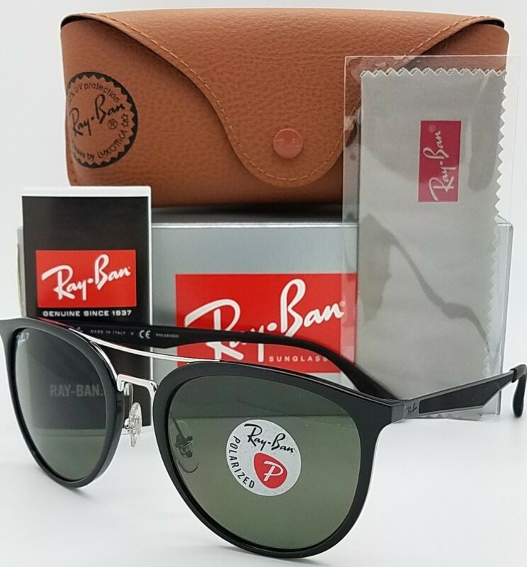 887a43d952 NEW Rayban Sunglasses RB4285 601 9A 55 Black Polarized Green G15 Double Bar  4285