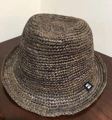 B Block Headwear NEW Brown Men's Size X L Braided 100% Straw Fedora (100 Headwear)