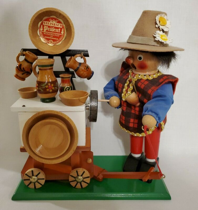 STEINBACH SALESMAN COOK DISHES CART SMOKER NUT CRACKER IN BOX GERMANY VINTAGE