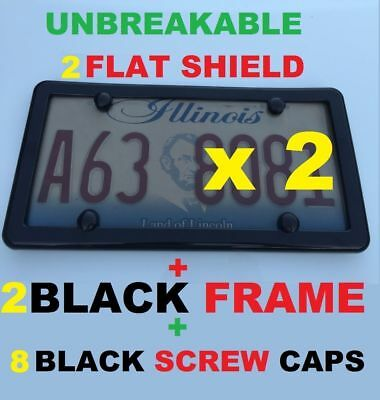 2 UNBREAKABLE FLAT SMOKE LICENSE PLATE SHIELD COVERS  2 BLACK FRAMES  8 CAPS