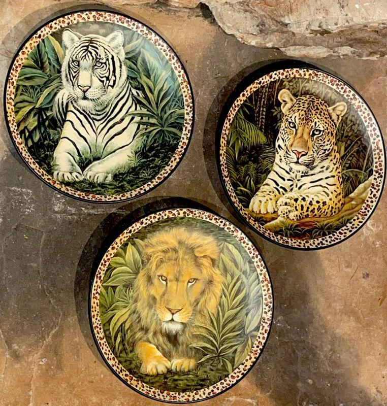 "Home Interior Wild Animals Plates 8"" set of 3: Lion, Leopard, White Tiger"