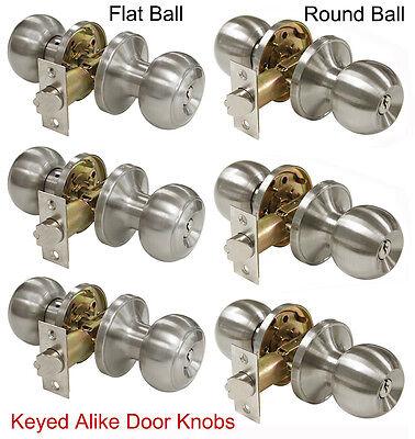 3 X Keyed Alike Door Locks Entrance Door Knobs Brushed Nickel Entry Door Knobs