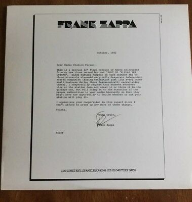 Frank Zappa –Shut Up 'N Play Yer Guitar Radio sampler promo only