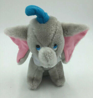 Walt Disney Gray Pink Dumbo Elephant Plush Stuffed Animal Vintage Plastic Eyes
