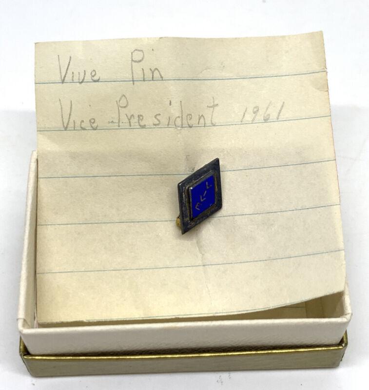 Vintage 1961 Enamel 14k Gold Filled Vive avice President Speech Pin