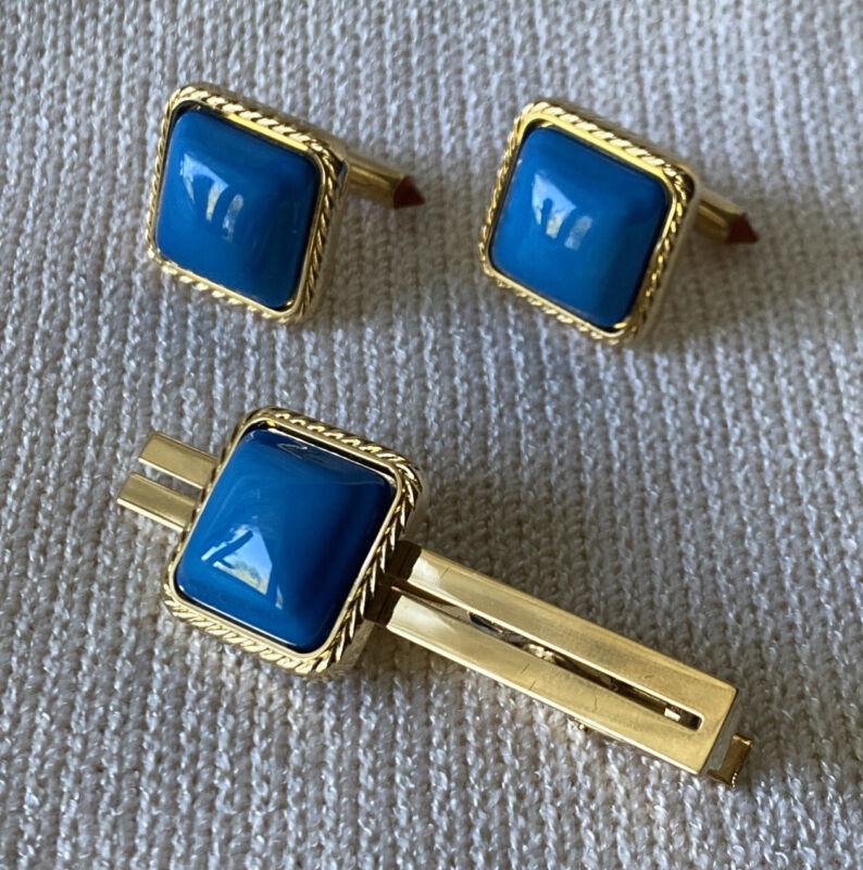 Noritake SunEagle Tie Bar & Cuff Link set, Gold Tone & Cerulean Blue Bone China
