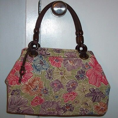 Classic Fossil Large Purse, Floral Pattern, Double Handles, Wooden Bead Accents Classic Beaded Purse Patterns