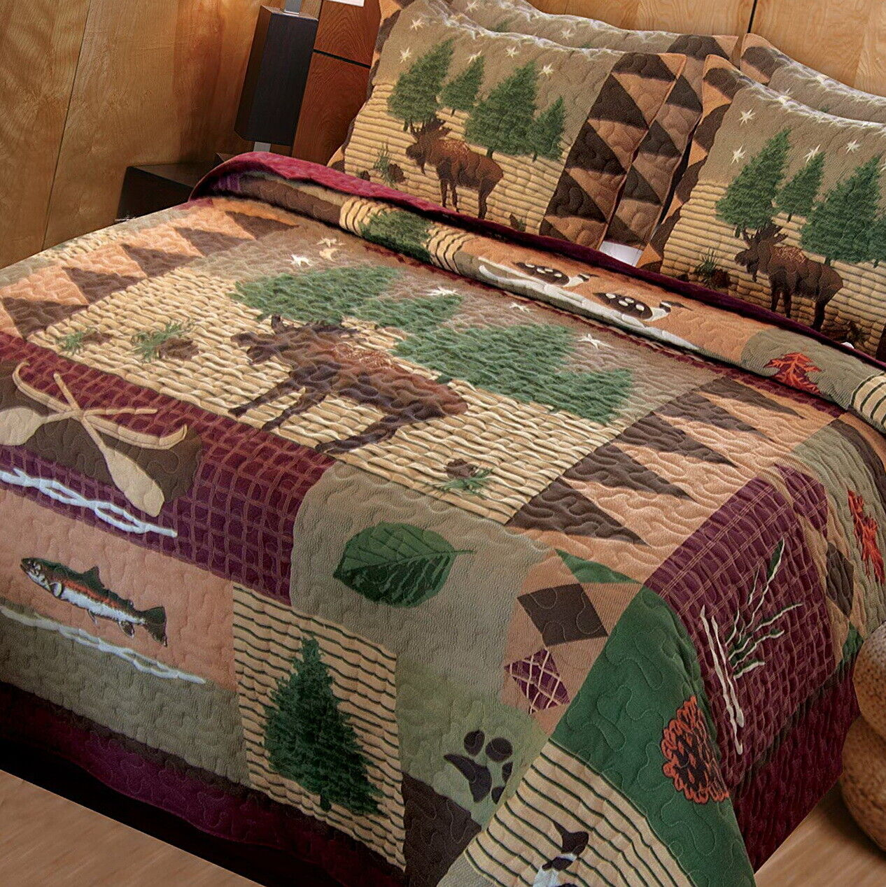 Queen King Size Bed Log Cabin Plaid Lodge Bedroom Moose 3 pc