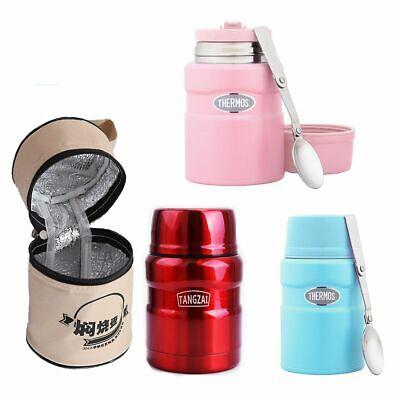16 Ounce Steel Mug - 16 oz. Food Jar Travel Tumbler Mug Folding Spoon Vacuum Stainless Steel