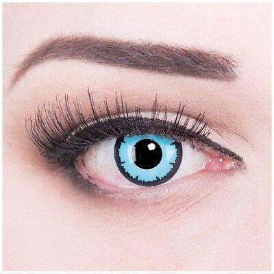 Farbige Halloween Fasching Kontaktlinsen Sky Demon hellblau blaue (Hellblaue Kontaktlinsen)