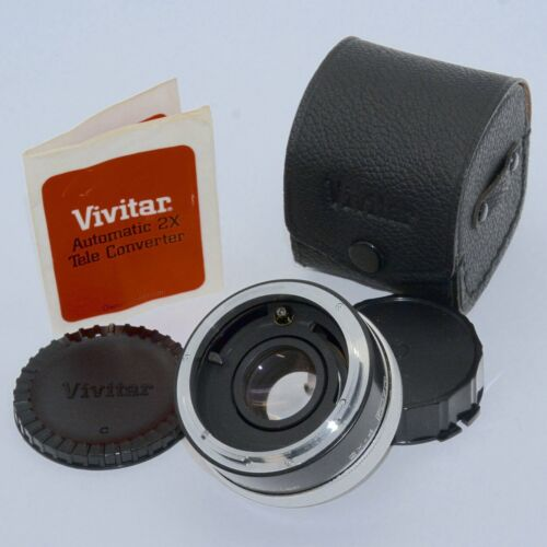 New Canon FD 2X Teleconverter by Vivitar Japan W/ Case,Lens Caps,Instructions