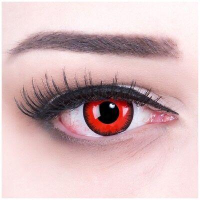 Farbige Kontaktlinsen schwarz rot Red Lunatic Horror Halloween Fasching Cosplay