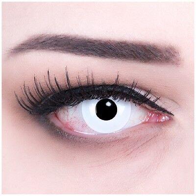 Farbige Kontaktlinse MIT Stärke White Out Fun Crazy bunte Halloween Fasching (Bunte Kontaktlinsen)