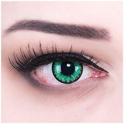 Fun crazy Kontaktlinsen Green Flower für Halloween - Fastnacht + GRATIS Behälter