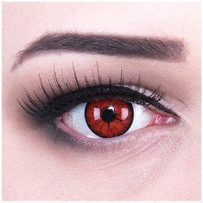 Crazy Kontaktlinsen mit Sehstärke rot schwarz Metatron für Halloween Fasching