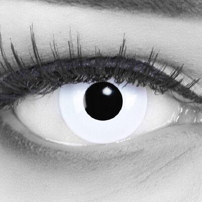 weiße Farbige Kontaktlinsen MIT Stärke weiß White Out Crazy für Halloween